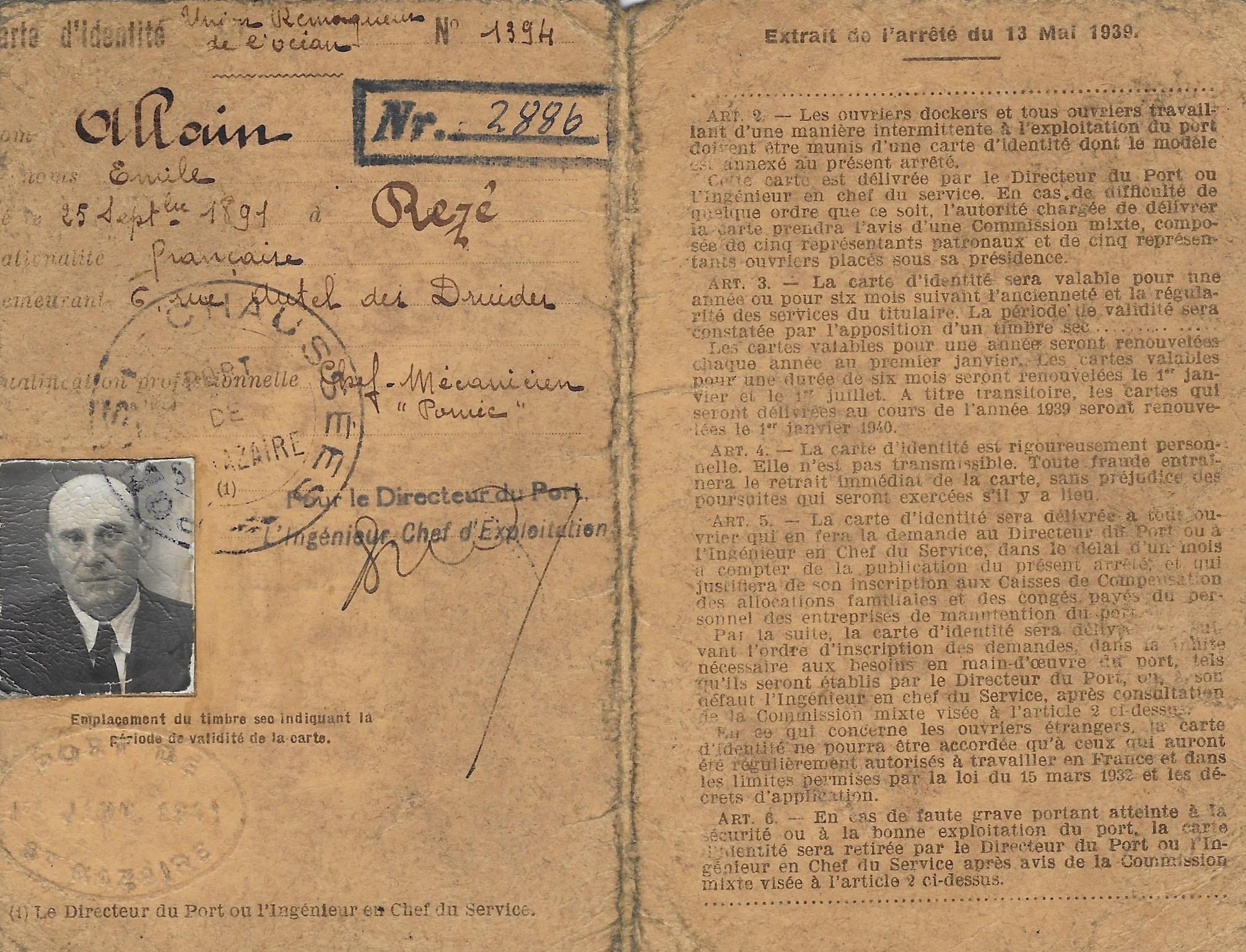 Carte professionnelle de libre circulation -1939- sur le port de Saint-Nazaire
