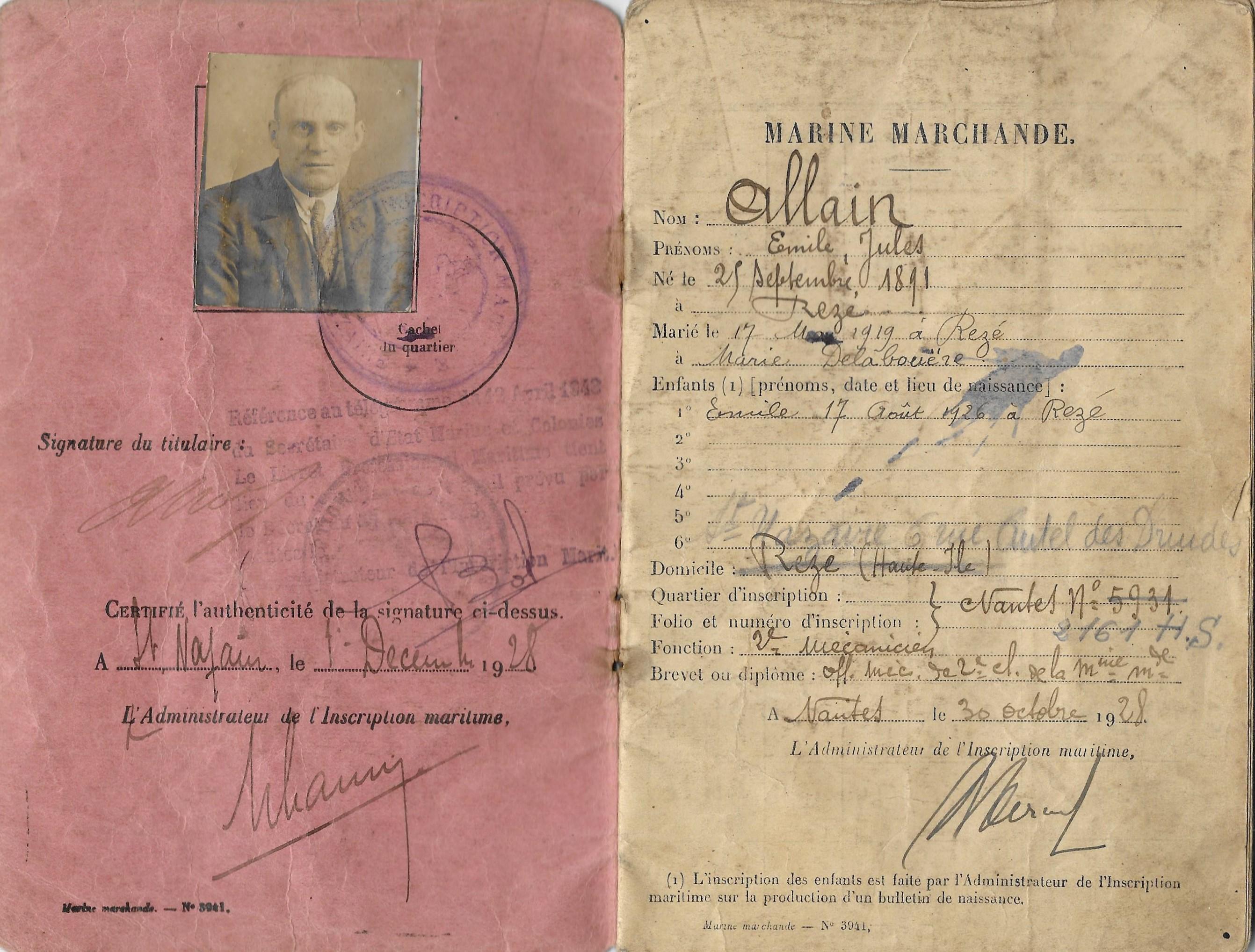 Livret professionnel maritime -1928 - 1945-